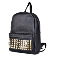 Gold Stud Rivets Black School Travel Backpack Shoulder Bag