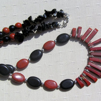 "Crystal Gemstone Statement Fan Necklace - Red Jasper & Black Onyx - ""Burnt Orange"" - Special Offer"