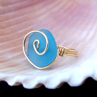 Deepest Ocean Blue Ring: Teal Blue Sea Glass 24K Gold Swirl Spiral Wire Wrapped Beach Jewelry, Size 5