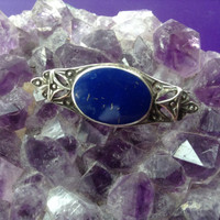 Lapis Brooch Pin Sterling Silver 925 Lapis Lazulii Cabachon Bezel Oval Gemstone Bar vintage jewelry stone denim royal blue Southwestern