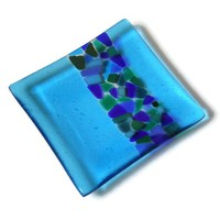 Turquoise Fused Glass Plate with Mosaic Style Stripe, Art Glass Dish