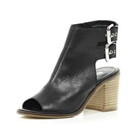 Black cut out block heel shoe boots - heels - shoes / boots - women