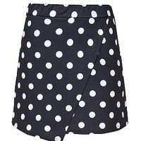 Navy Polka Dot Wrap Skort