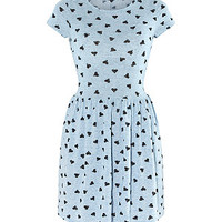Pale Blue Heart Print T-Shirt Dress