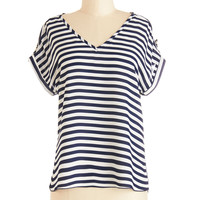 ModCloth Nautical Short Sleeves Pastry Picks Top