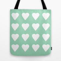 16 Hearts Mint Tote Bag by Project M