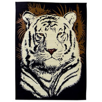 African Adventure White Tiger Head Black Area Rug (5' x 7')