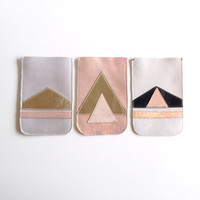 iPhone 4 Leather Case // Soft White Pale Pink Holographic // Pouch // Geometric Art Deco // Mother's Day // Black