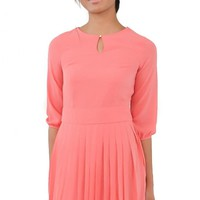 Pink 3/4 Sleeve Crepe Dress