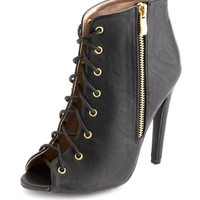 PEEP TOE LACE-UP BOOTIE