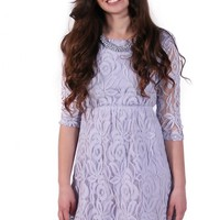 Purple Lace 3/4 Sleeve Dress