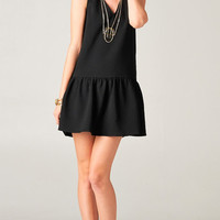 DROP WAIST RUFFLED HEM DRESS - BLACK