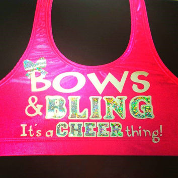 Bows & Bling It's A Cheer Thing! Metallic Sports Bra