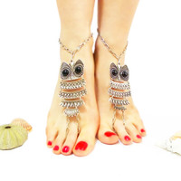 Owl Jewelry, Owl Barefoot Sandal, Owl Bangle, Ethno Boho Foot Jewelry, Anklet, Silver barefoot sandal, Hot Trends, Beach, Foot Thongs