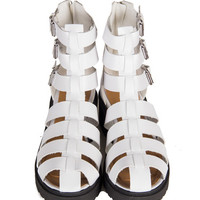 Tri-Buckle Caged Sandals - White