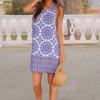 We Kaleid Dress, Ivory/Blue