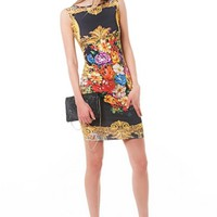 Black Sleeveless Bodycon Dress w/ Regal Multicolor Floral Print #bodycon #dress #floral #print #clubdress #partydress #black #gold