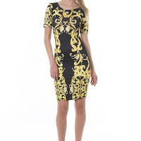 Black Short Sleeve Bodycon Dress w/ Gold Brocade Print #bodycon #dress #brocade #print #clubdress #partydress #black #gold