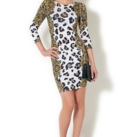 White Bodycon Dress w/ Black & Gold Leopard & Brocade Print #bodycon #dress #brocade #print #clubdress #partydress #leopard #chic #sexy