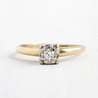 Vintage 14k Yellow & White Gold Diamond Cluster Ring- 1940s 1/10th Center Diamond Engagement Wedding Jewelry