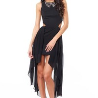 Black Sleeveless Cutout Dress w/ High Low Hem & Embellished  #black #embellishment #highlow #bodycon #chic #sexy #cutouts