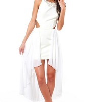 White Dress w/ High Low Chiffon Skirt & Embellished Neck  #white #embellishment #highlow #bodycon #chic #sexy #cutouts