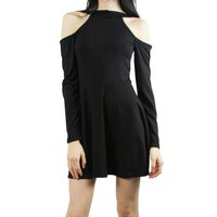 Black Cutout Sleeve Drop Dress