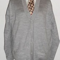 Men Fashion wool V-Neck Sweater silver gray wool Xl