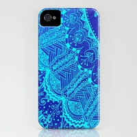 Blue SPARKLE Doodle iPhone Case by Kayla Gordon | Society6