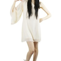 Beige One-Shoulder Chiffon Swing Dress
