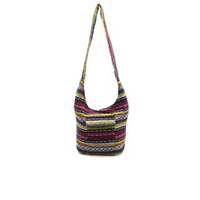 WOVEN TRIBAL STRIPED HOBO BAG