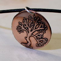 Copper acid etched tree pendant