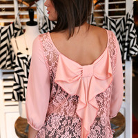 Lace & Bows Blouse {Peach}