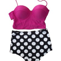 Vintage High Waist Bikini Sets Hot Pink Top+polka Dots Bottom (S (US2-4))