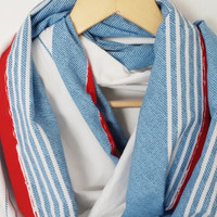 Blue Red Stripes Marine Scarf, Very soft and Lightweight
