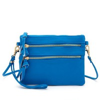 TRIPLE ZIPPER MINI CROSS-BODY BAG