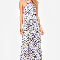 First Hiss Beige and Blue Print Maxi Dress