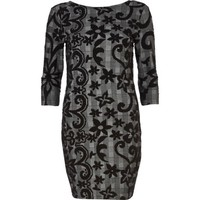 Grey check flocked print bodycon dress - bodycon dresses - dresses - women