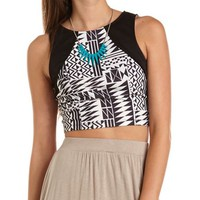 ZIP-BACK TRIBAL CROP TOP