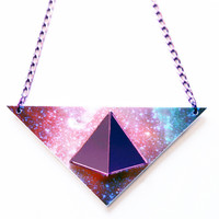 Galaxy Pyramid Necklace- Purple