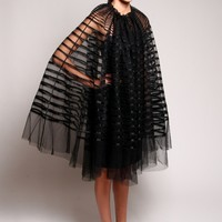 Tulle Ribbon Trimmed Evening Cape