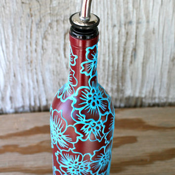 Hand painted wine bottle olive oil from lucentjane on etsy for Wine bottles decorated with flowers