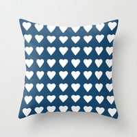 64 Hearts Navy Throw Pillow by Project M