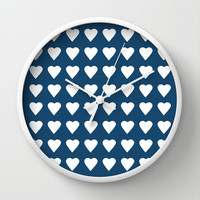 64 Hearts Navy Wall Clock by Project M