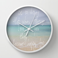be so happy Wall Clock by Marianna Tankelevich