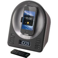 iHome iA63 App-Enhanced Alarm Clock FM Radio Stereo Speaker System with Motorized Rotating Dock for iPhone and iPod (Black)
