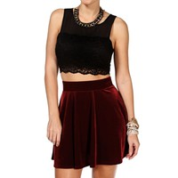Black Crop Lace Chiffon Sleeveless Top