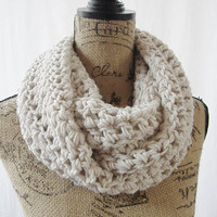 Ready To Ship The Large Erin Wheat Infinity Crochet Scarf Cowl Loop Circle Accessory