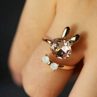 Bunny And Bow Rhinestone Cuff Ring (Adjustable Band)