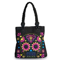 Sugar Skull Flower Tote by Loungefly (Black)
